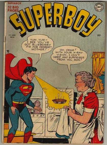 Superboy 8 - Pie - Kitchen - X-ray Vision - Ma Kent - Oven - Kevin Maguire, Tom Grummett
