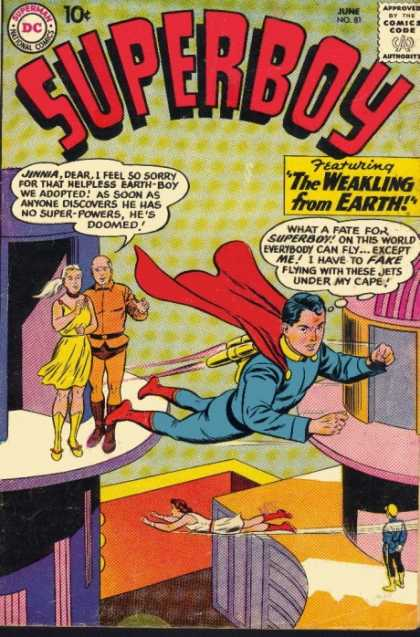 Superboy 81 - Jinnia - The Weakling From Earth - Fake Flying - Red Cape - Parents - Curt Swan, Tom Grummett