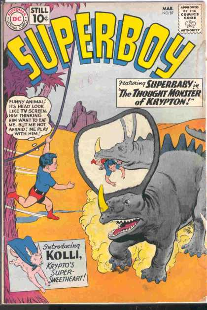 Superboy 87 - Kolli - Superbaby - Dinosaur - The Thought Monster Of Krypton - Vine - Curt Swan