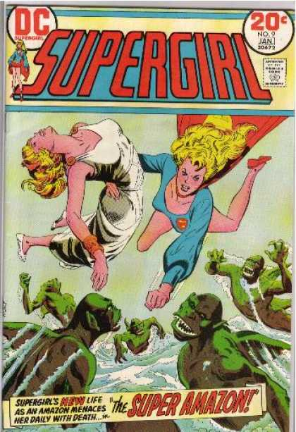 Supergirl (1972) 9 - No 9 Jan - Woman - Flying - Dc - Green Monsters - Bob Oksner