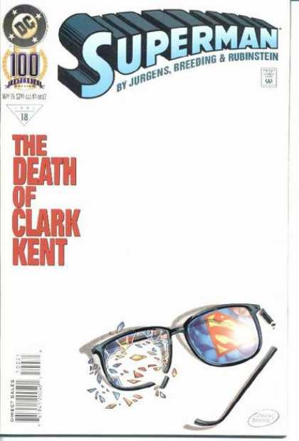 Superman (1987) 100 - Glasses - Broken Glasses - Is Clark Kent Death - Dan Jurgens