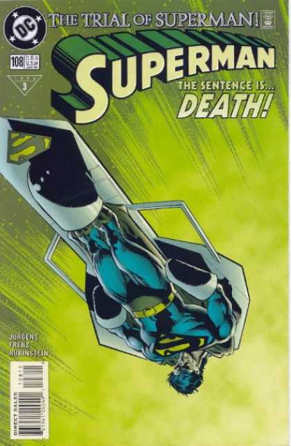 Superman (1987) 108 - Shackled - Death - Green Background - Direct Sales - 3 Authors - Dan Jurgens
