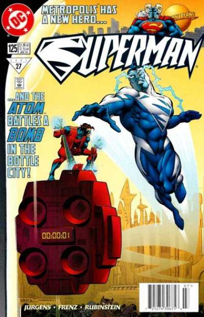Superman (1987) 125 - Atom - Bomb - Bottle City - Disarming - Man With Electricity Shooting Out Of Eyes