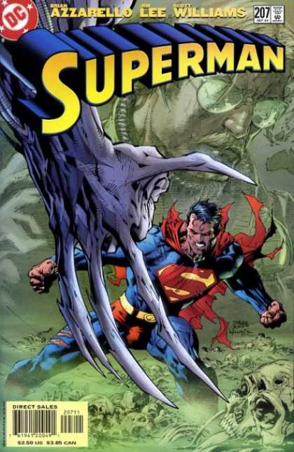Superman (1987) 207 - Superman - Shredded Cape - Clawed Hand - Skuls - Red Eyes - Jim Lee