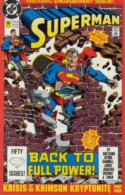 Superman (1987) 50 - Back To Full Power - Wall - Bricks - Comics Code - Historic Engagement Issue - Jerry Ordway