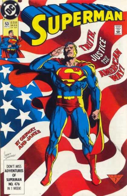 Superman (1987) 53 - Flag - Dc - Comics Code - Costume - Superhero - Jerry Ordway