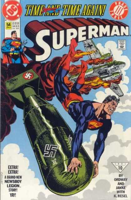 Superman (1987) 54 - Bomb - Time And Time Again - Nazi - Superman - Airplane - Jerry Ordway