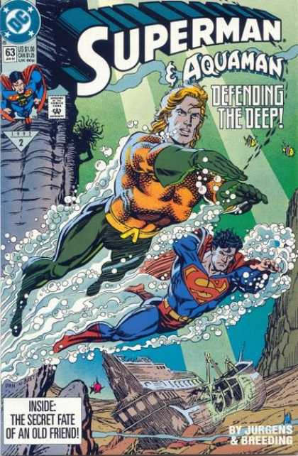 Superman (1987) 63 - Aquaman - Defending The Deep - Underwater - Fish - Secret Fate - Dan Jurgens