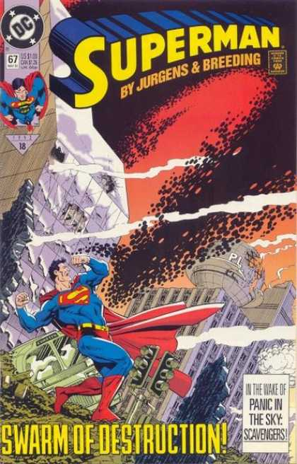 Superman (1987) 67 - Daily Planet - Destruction - Swarm - Sky - Dan Jurgens