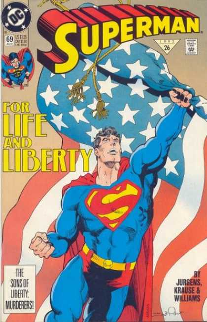 Superman (1987) 69 - Flag - American Flag - Liberty - Stars And Stripes - Life - Dan Jurgens, Denis Rodier