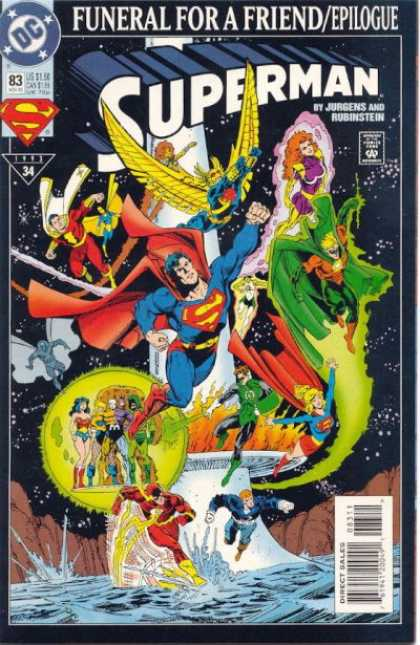 Superman (1987) 83 - Flash - Funeral - Wonder Woman - Shazam - Green Lantern - Dan Jurgens