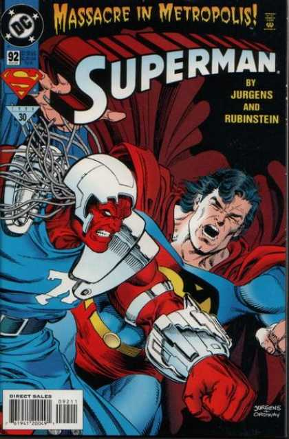 Superman (1987) 92 - Jurgens And Rubinstein - Massacre In Metropolis - Issue 92 - Superman Getting Hit By A Red Man - Jurgens - Dan Jurgens, Jerry Ordway