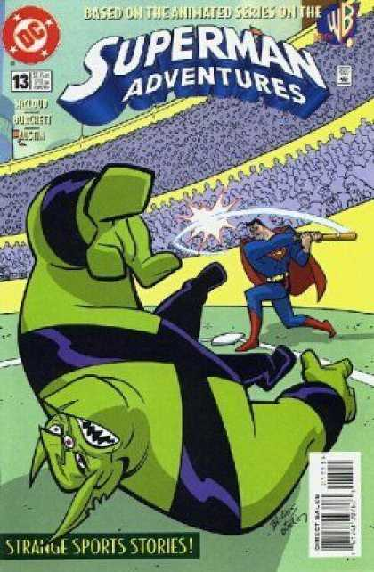 Superman Adventures 13 - Baseball Bat - Stadium - Strange Sports Stories - Green Alien - Home Base - Bret Blevins, Terry Austin