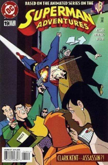 Superman Adventures 19 - Superhero - Clark Kent - Assasin - Shoot - Microfone - Gun - Terry Austin