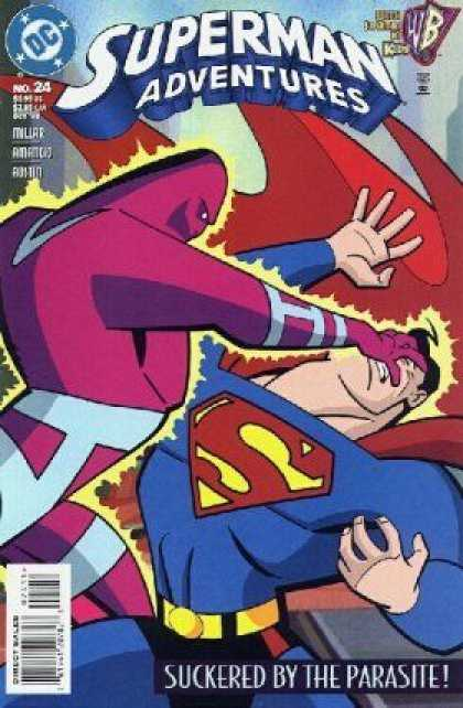 Superman Adventures 24 - Suckered By The Parasite - Superman In Trouble - Purple Bad Guy - Energy Zapping - Red Cape - Terry Austin