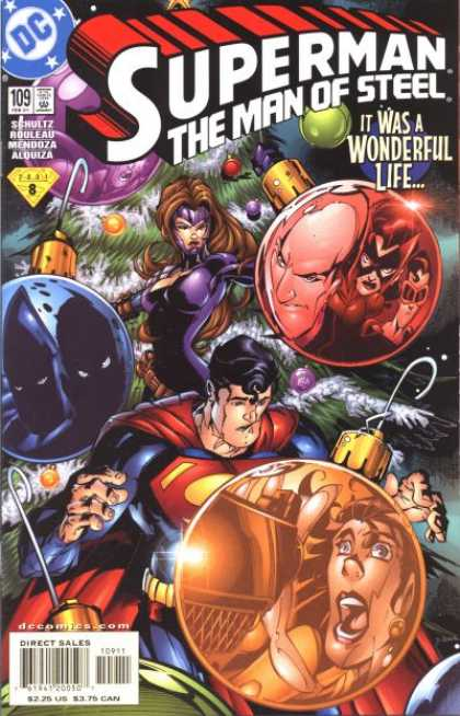 Superman: Man of Steel 109 - Its A Wonderful Life - Christmas Tree - Ornaments - Lights - Purple Outfit