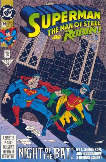 Superman: Man of Steel 14 - Dc - Approved By The Comics Code Authority - Robin - Night Of The Bat - Lsimonson