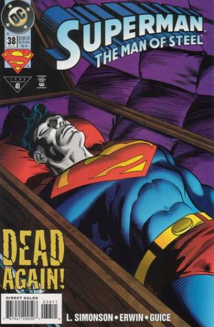 Superman: Man of Steel 38 - Superman - Corpse - Coffin - Dead Again - L Simonson