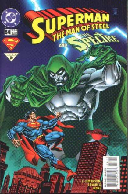 Superman: Man of Steel 54 - Spectre - Daily Planet - Lightning - Green Cape - Skyscrapers