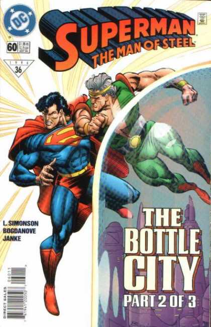Superman: Man of Steel 60 - The Bottle City Part 2 Of 3 - Red Cape - Green Costume - Headband - Ray Beams Radiating