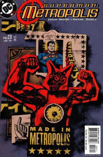 Superman: Metropolis 3 - Mad In Metropolis - Ticket - Superman Arms Crossed - Clock - Hand With Finger In Air
