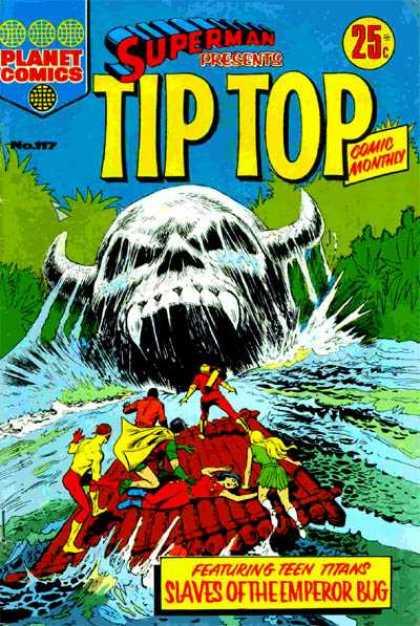 Superman Presents Tip Top 117 - Planet Comics - 25 Cents - Skull - Horns - Raft