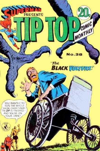 Superman Presents Tip Top 38 - The Black Vulture - Man In Wheelchair - Large Claws - Attack - People Fleeing