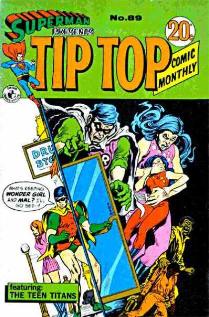Superman Presents Tip Top 89 - Teen Titans - Wonder Girl - Robin - Glass Door - Drug Store