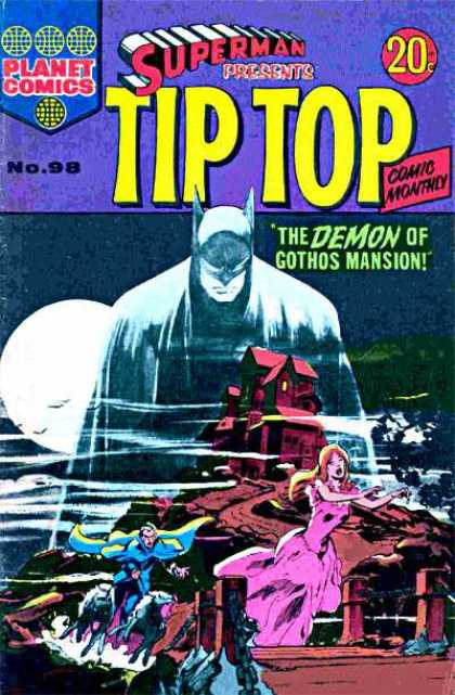 Superman Presents Tip Top 98 - Batman - Haunted - Mansion - Girl Running - Mountaintop