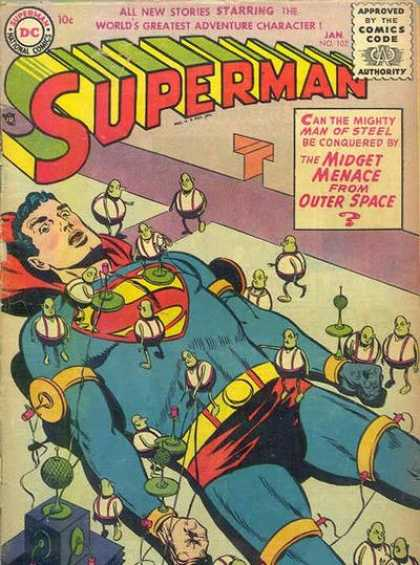 Superman 102 - Midgets - Outer Space - Gulliver Like - All Tied Up - Man Of Steel
