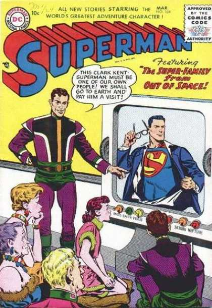 Superman 104 - March Issue - Planets Listed On Tv Screen - Multi Generation Family - Writing On Upper Left Hand Corner Above Price - Early 1960s
