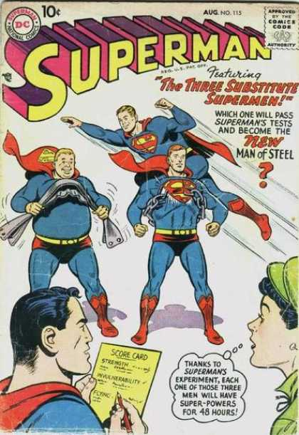 Superman 115 - Substitute Supermen - Dc - Experiment - Temporary Powers - Golden Age - Curt Swan