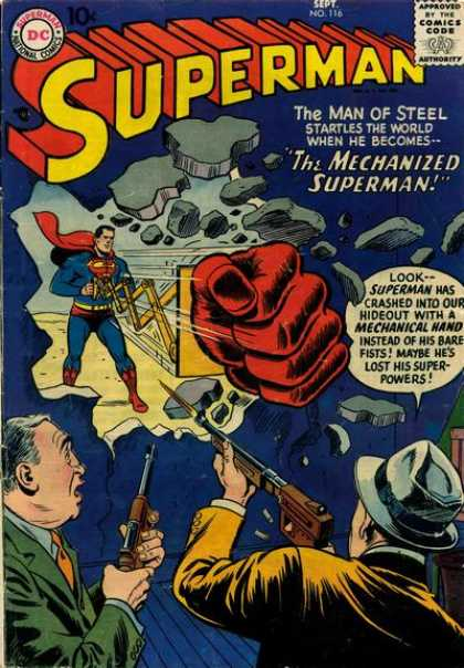 Superman 116 - No 116 - Mechanized - Punch - Criminal - Wall