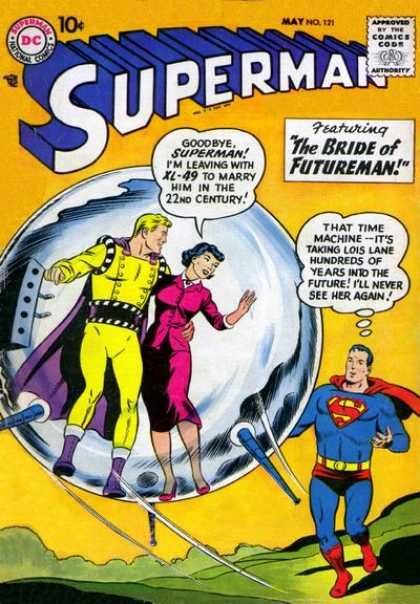 Superman 121 - Pink Outfit - Bubble - Hand Up - Time Machine - Yellow Suit - Curt Swan