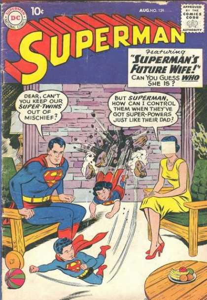 Superman 131 - Married - Wife - Super-twins - Children - Smash - Curt Swan