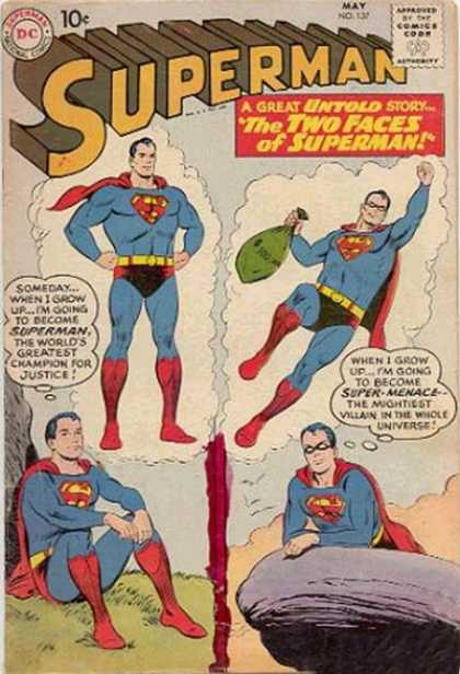 Superman 137 - Two Faces Of Superman - Dc Comics - Super-menace - Greatest Champion - Mightiest Villian - Curt Swan