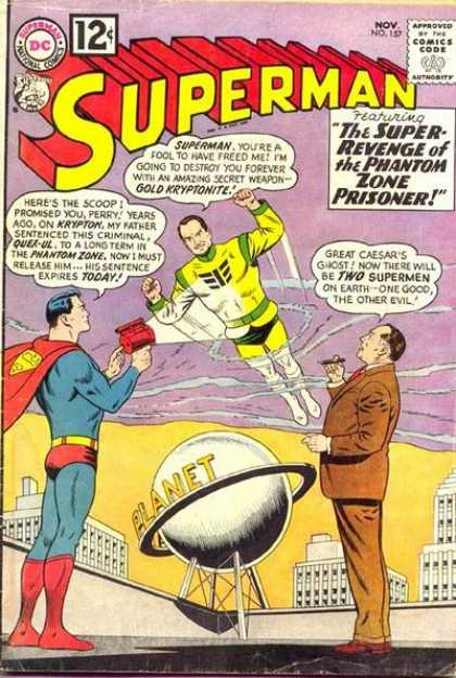 Superman 157 - The Super Revenge Of The Phantom Zone Prisoner - Daily Planet - Light Ray - Krypton - Rooftop - Curt Swan
