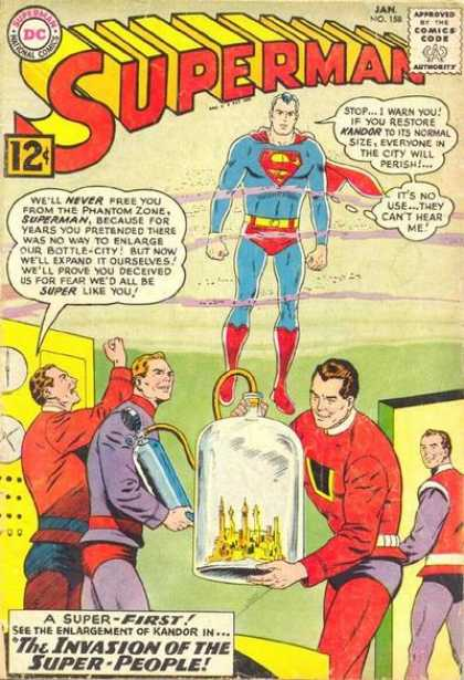 Superman 158 - Superhero - Man - Invasion Of Super People - Phantom Zone - National Comics - Curt Swan
