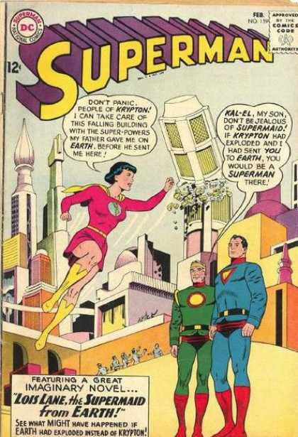 Superman 159 - City - Falling Tower - Woman In Red - Green Rocks Falling - People On Ledges - Curt Swan