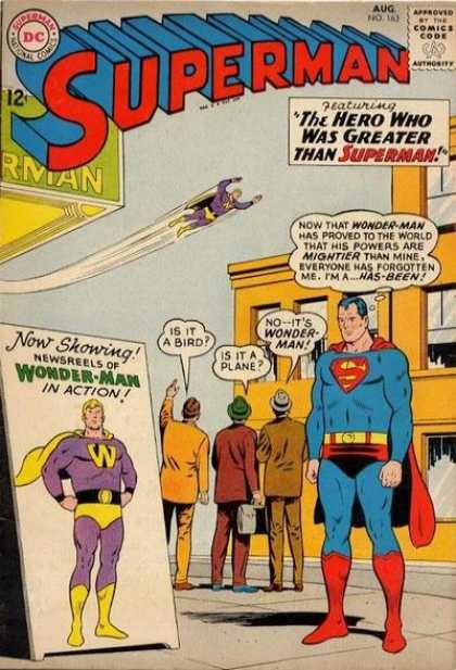 Superman 163 - Now Showing - Wonder-man - Sign - Hero - Plane - Curt Swan