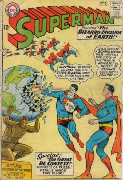 Superman 169 - The Bizarro Invastion Of Earth - Broken Globe - The Great Dc Contest - Atlas - Metropolis - Curt Swan