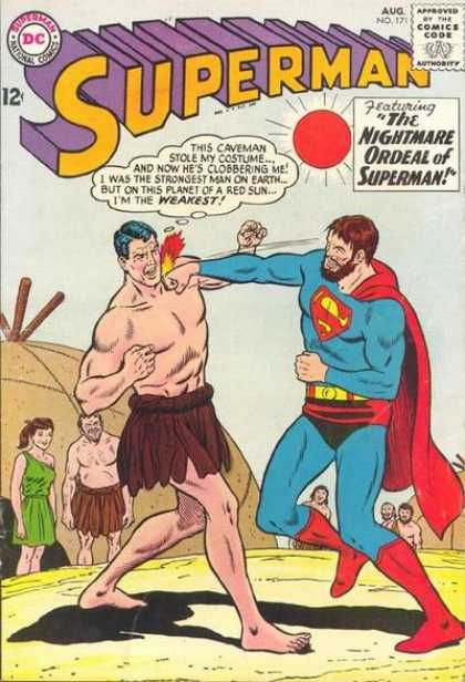 Superman 171 - The Nightmare Ordeal Of Supreman - Red Sun - Red Cape - Punch - Black Hair - Curt Swan