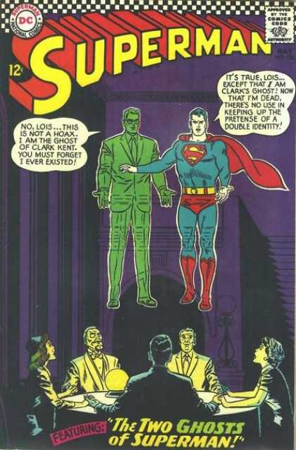 Superman 186 - Ghost Of Clark Kent - The Two Ghosts Of Superman - Double Indentity - Seance - Lois - Curt Swan