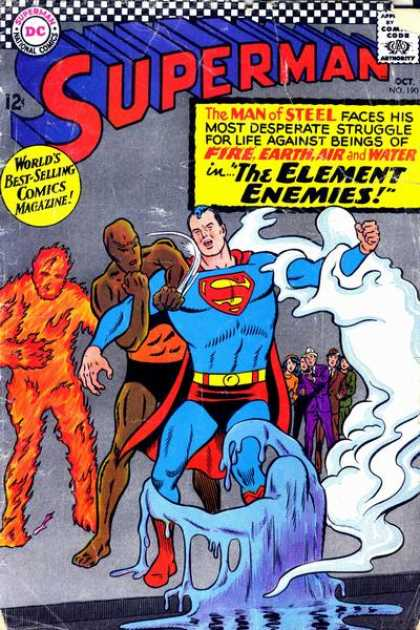 Superman 190 - Man Of Steel - Fire - Earth - Air - Water - Curt Swan