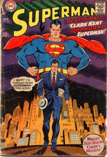 Superman 201 - City Buildings - London - Clark Kent - Blue Suit And White Hat - Walking Away - Curt Swan