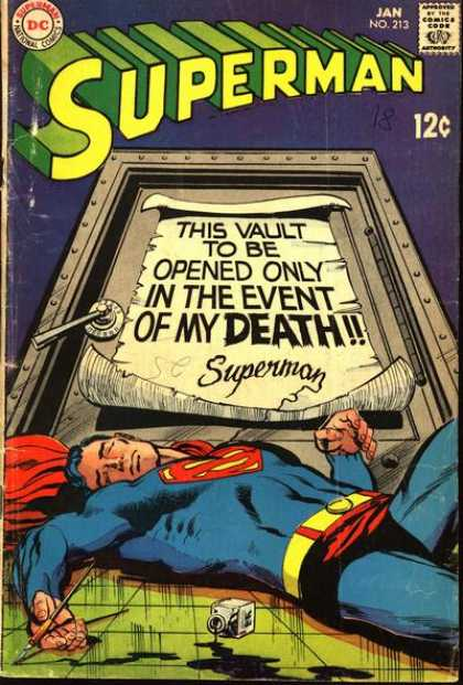 Superman 213 - This Vault To Be Opened Only In The Event Of My Death - Superhuman - Comics Code - Superhero - Door - Neal Adams