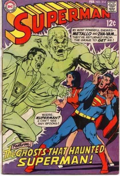 Superman 214 - Dc - Metallo - Zha-vam - Ghosts - Spooks - Neal Adams