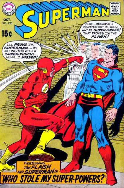 Superman 220 - Flash - Super Punch - Super Speed - Super Powers - Brick Wall - Curt Swan, Murphy Anderson