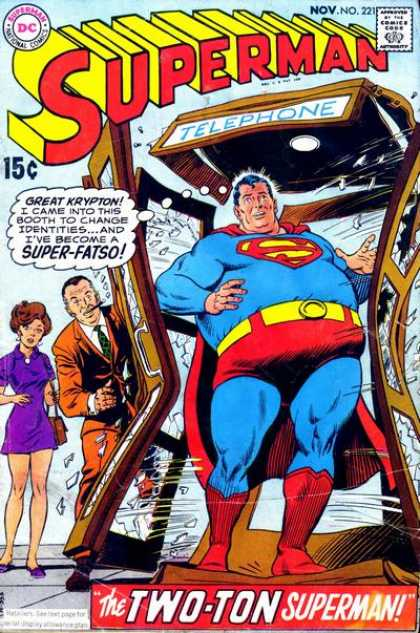 Superman 221 - Super-fatso - Fat - Telephone Booth - The Two-ton Superman - Cigar - Curt Swan, Murphy Anderson