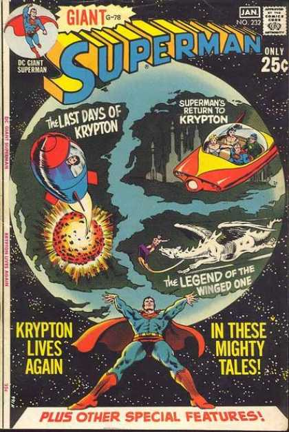 Superman 232 - The Last Days Of Krypton - Return To Krypton - Legned Of The Winged One - Shuttle Vehicle - Meteorite - Curt Swan, Murphy Anderson
